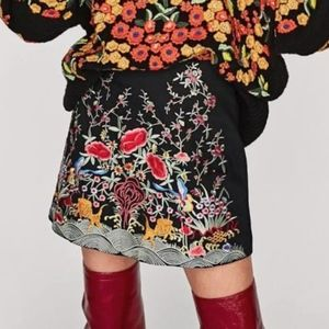 Embroidered Mini Skirt Black Bright Floral